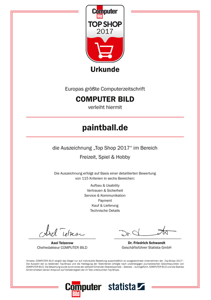ComputerBild Top Shop 2017 Urkunde
