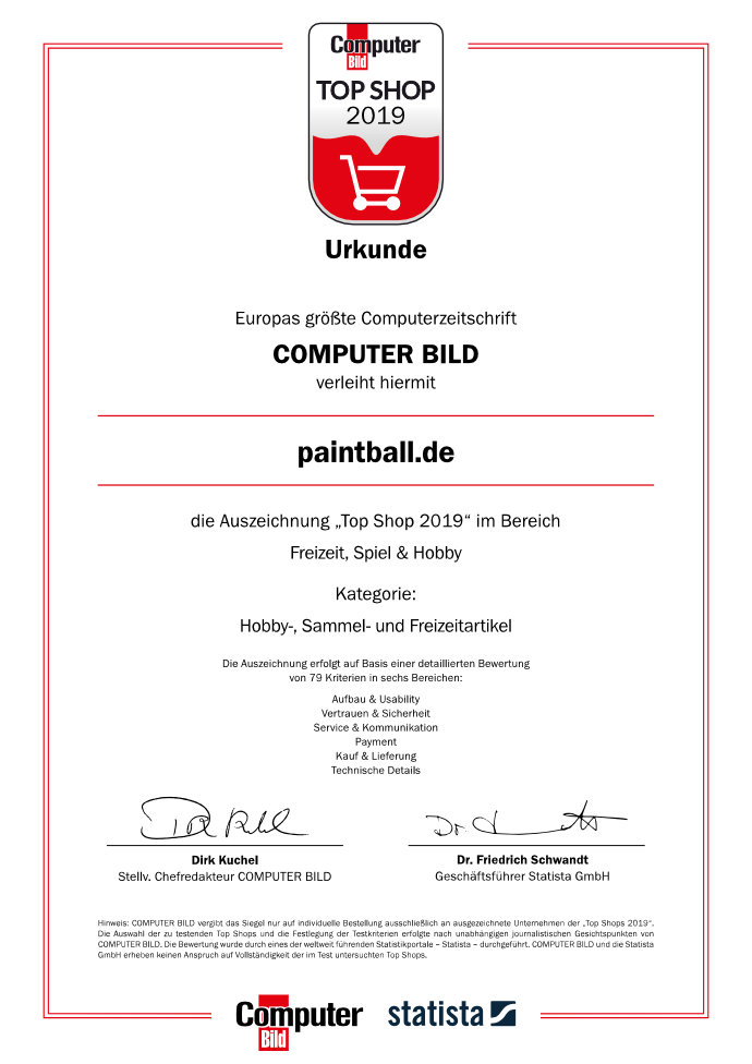 ComputerBild Top Shop 2019 Urkunde